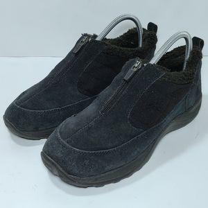 LL Bean Lined Black Suede Zipper Slip Ons